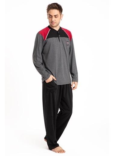 Pemilo Erkek 745 Cepli Uzun Kol Yazlık Pijama Takımı SİYAH Füme